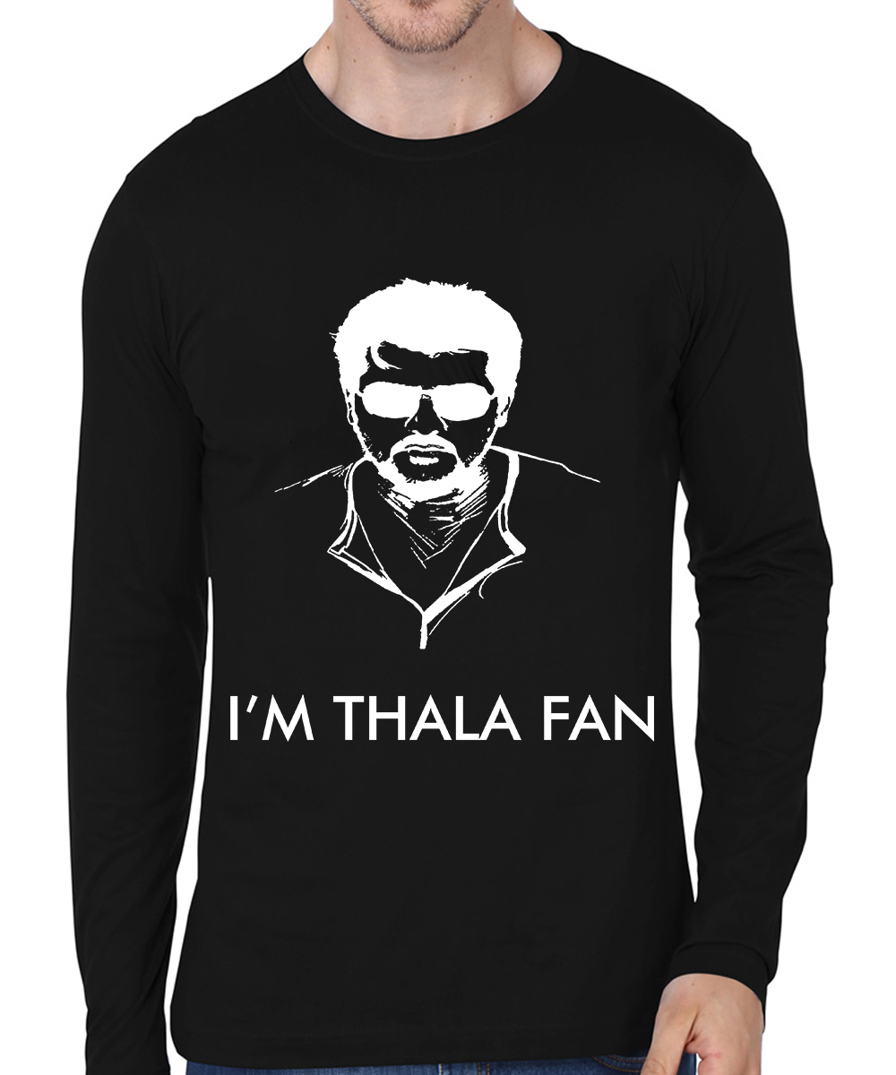 Caseria Men's Cotton Biowash Graphic Printed Full Sleeve T-Shirt - I'm Thala Fan (Black, L)