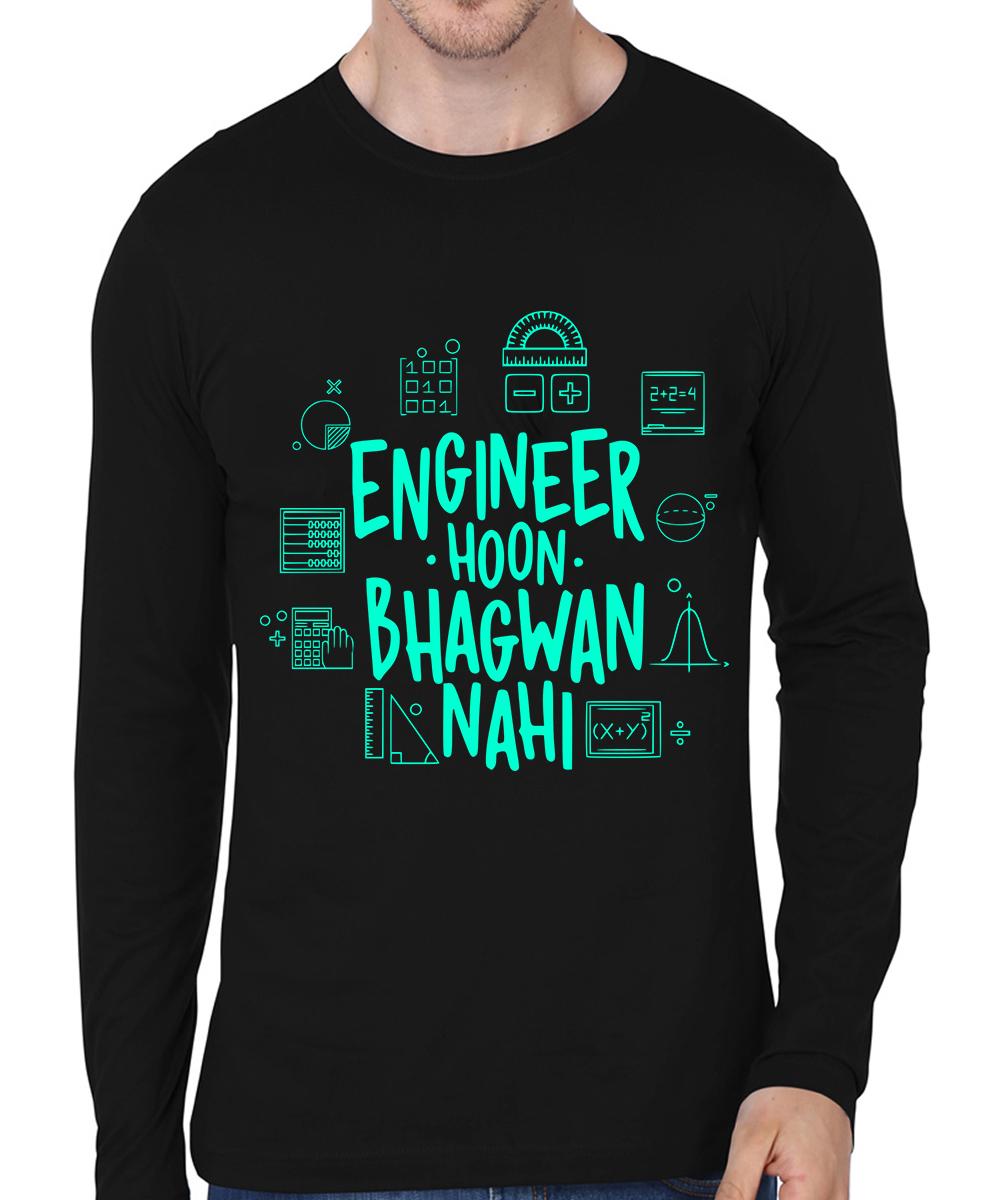 Caseria Men's Cotton Biowash Graphic Printed Full Sleeve T-Shirt - Engineer Hoon Bhagwan Nahi (Black, L)