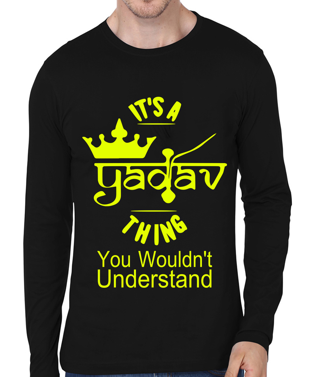 Caseria Men's Cotton Biowash Graphic Printed Full Sleeve T-Shirt - It?s A Yadav Thing (Black, L)