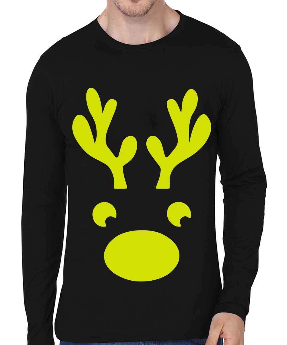 Caseria Men's Cotton Biowash Graphic Printed Full Sleeve T-Shirt - Christmas Deer (Black, L)
