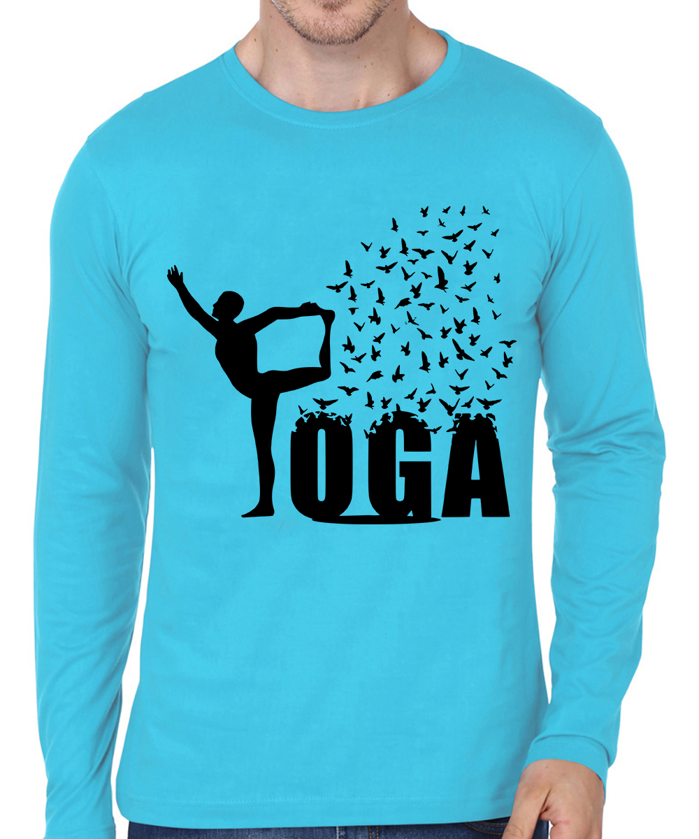 Caseria Men's Cotton Biowash Graphic Printed Full Sleeve T-Shirt - Yoga Bird (Sky Blue, SM)