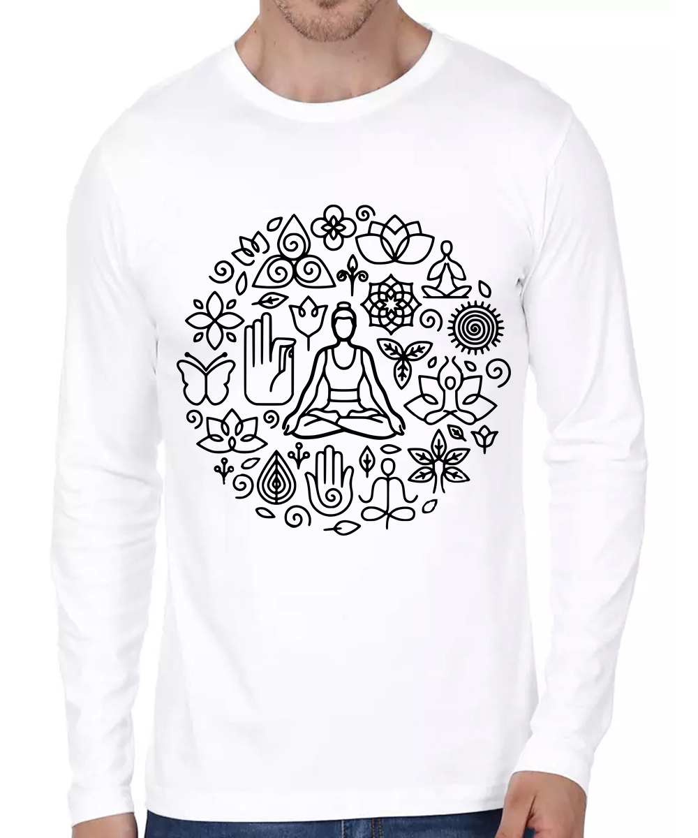 Caseria Men's Cotton Biowash Graphic Printed Full Sleeve T-Shirt - Yoga Flower (White, XL)
