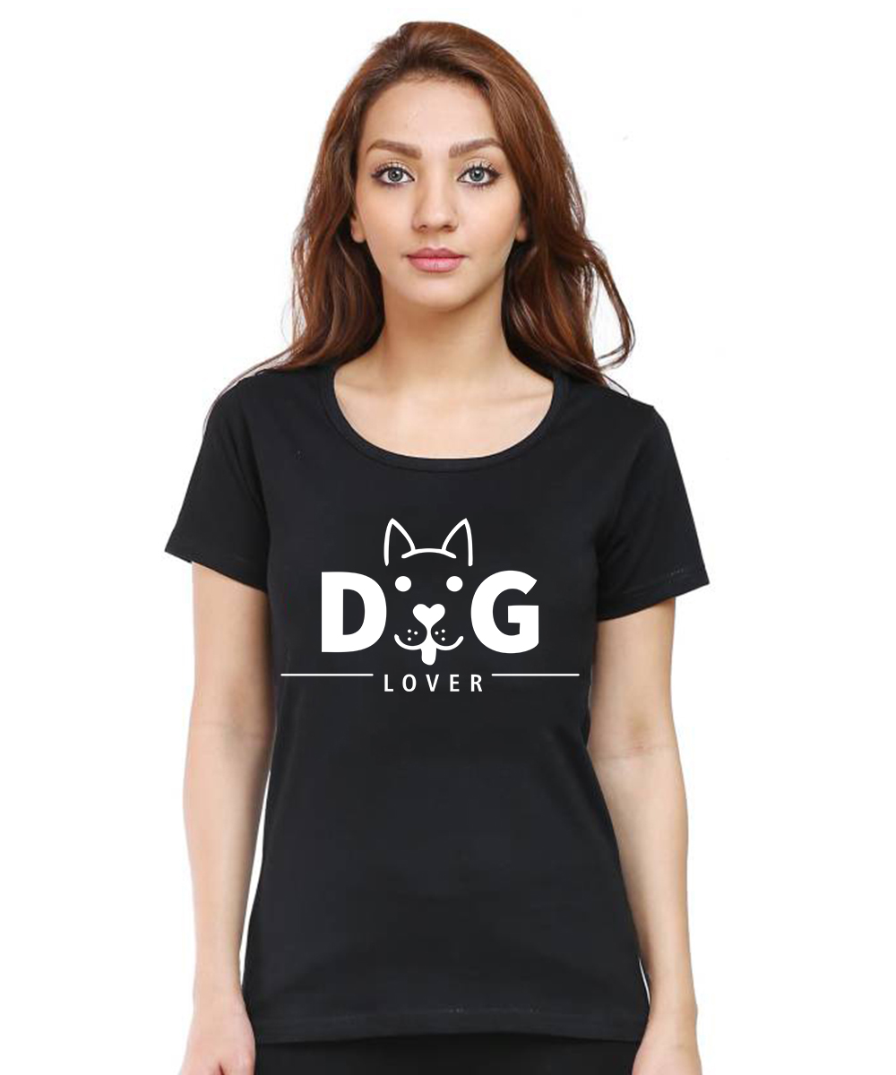 Caseria Women's Cotton Biowash Graphic Printed Half Sleeve T-Shirt - Dog Lover Pattern (Black, L)