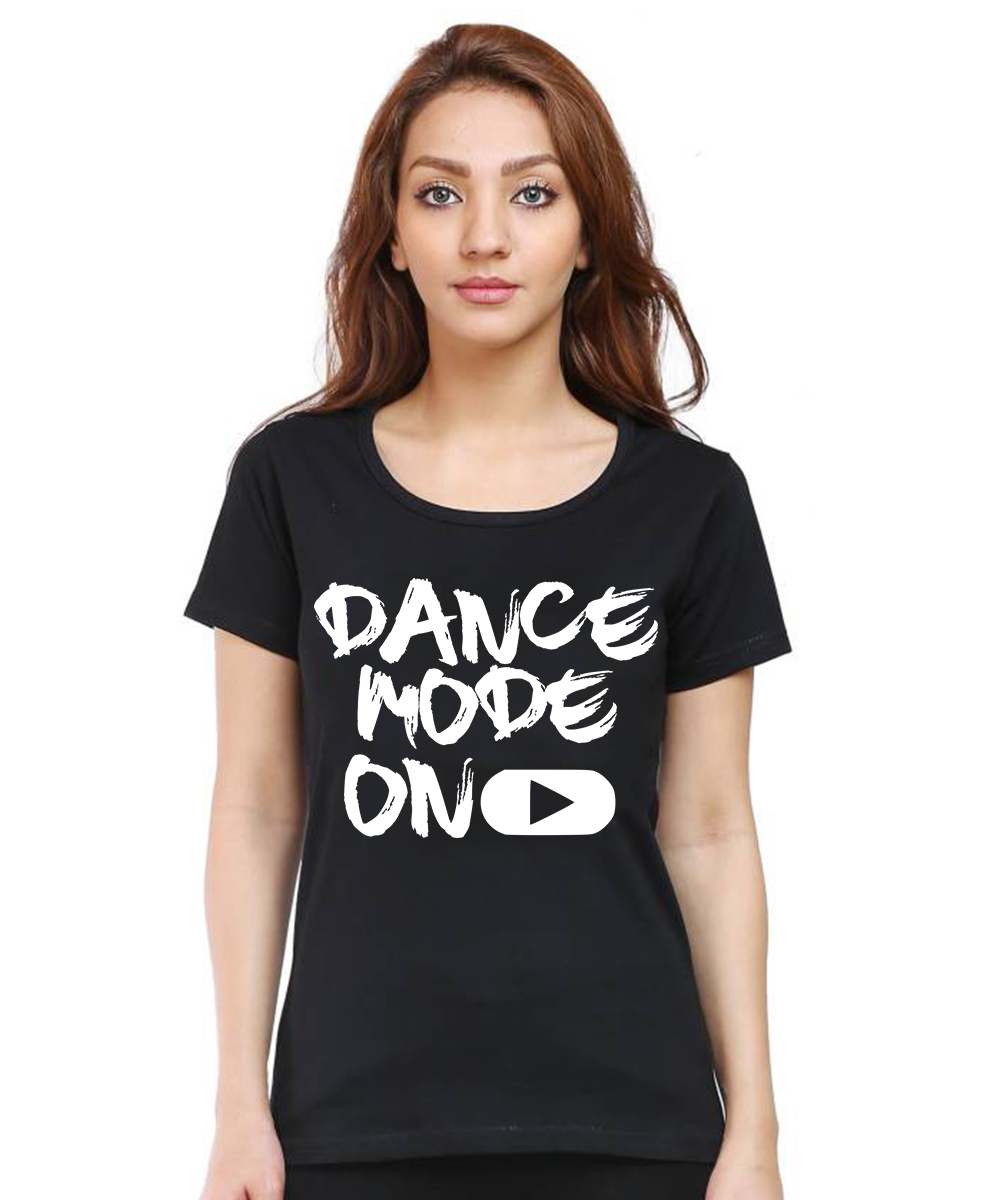 Caseria Women's Cotton Biowash Graphic Printed Half Sleeve T-Shirt - Dance Mode On (Black, L)