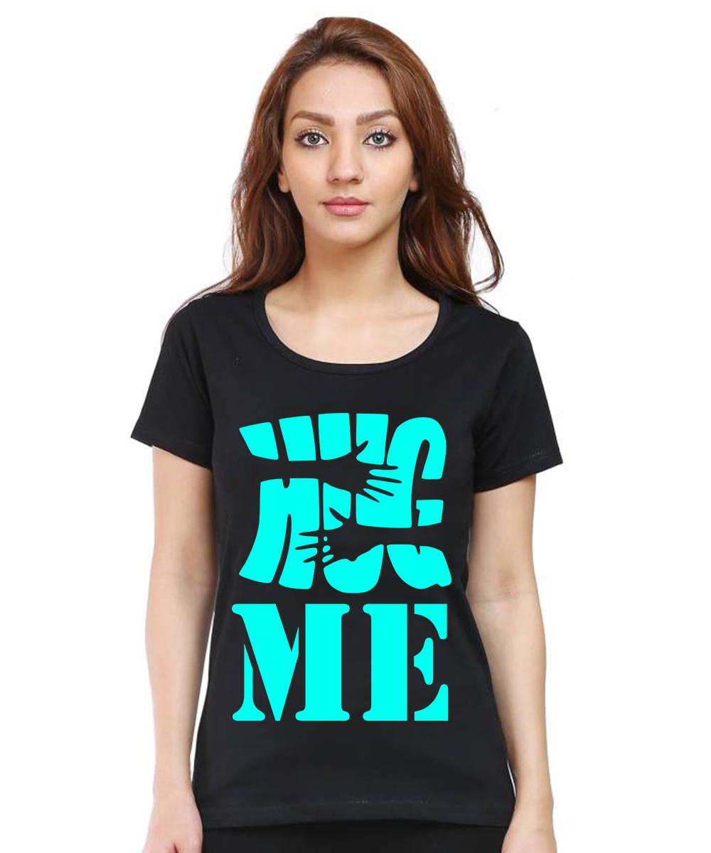 Caseria Women's Cotton Biowash Graphic Printed Half Sleeve T-Shirt - Hug Me (Black, L)