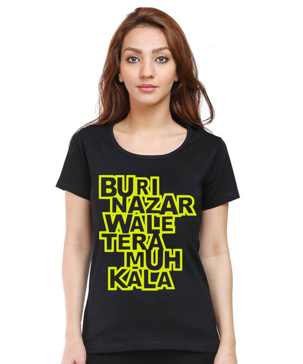 Caseria Women's Cotton Biowash Graphic Printed Half Sleeve T-Shirt - Buri Nazar Wale (Black, L)