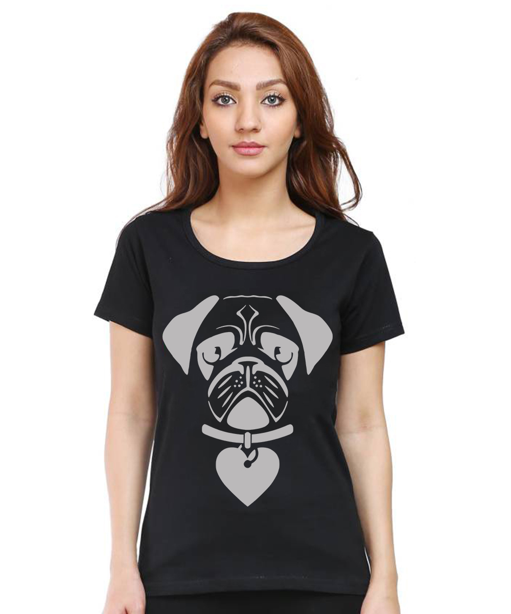 Caseria Women's Cotton Biowash Graphic Printed Half Sleeve T-Shirt - Forever Dog Lover (Black, L)
