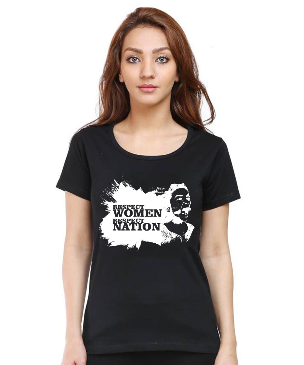 Caseria Women's Cotton Biowash Graphic Printed Half Sleeve T-Shirt - Respect Women Respect Nation (Black, L)