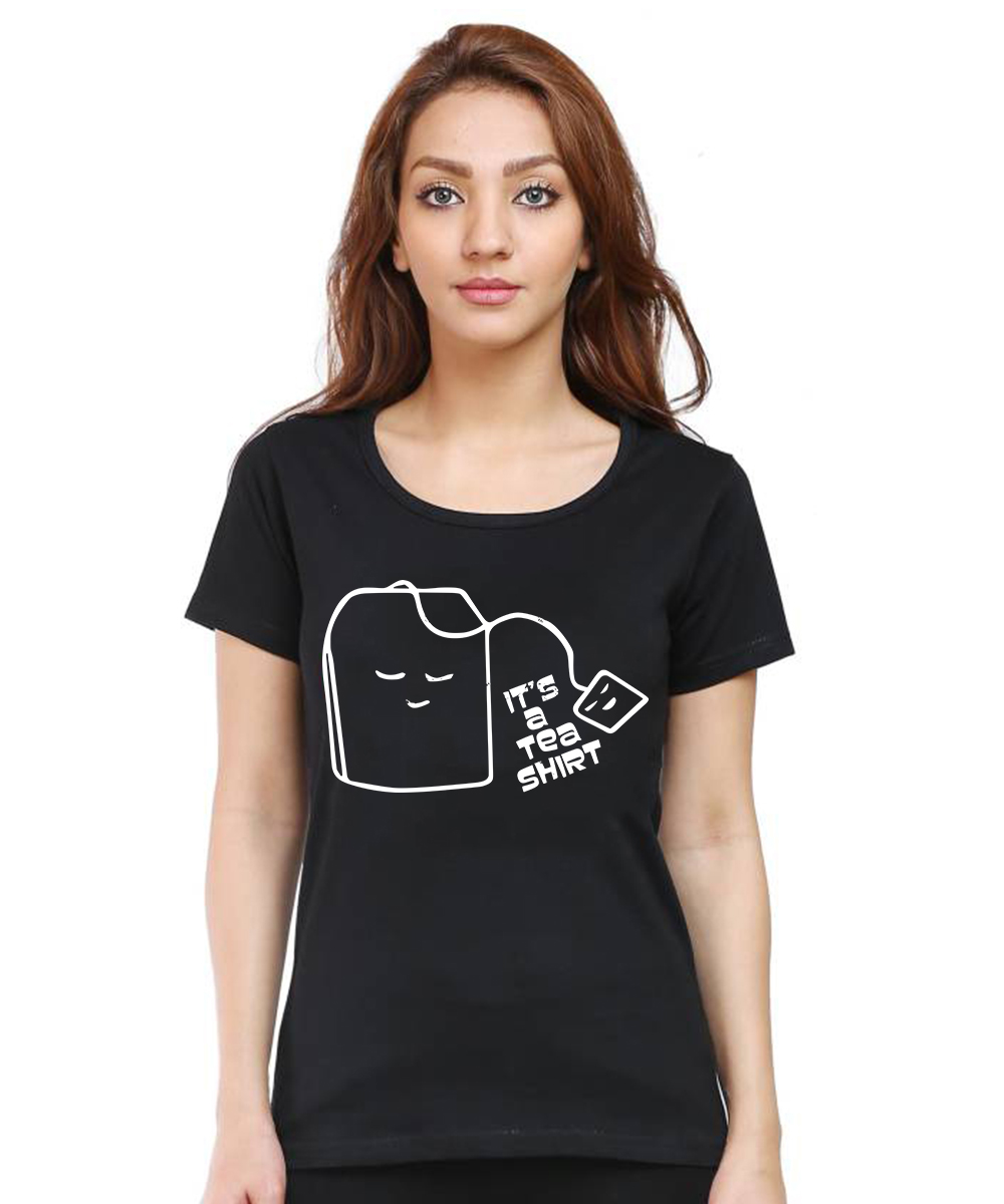 Caseria Women's Cotton Biowash Graphic Printed Half Sleeve T-Shirt - It's A Tea Shirt (Black, L)