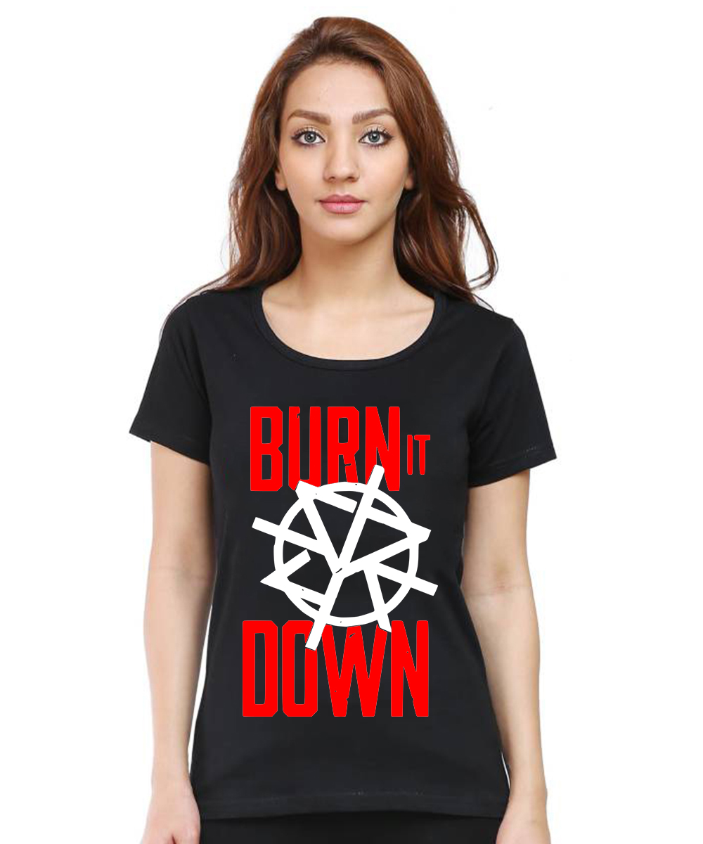 Caseria Women's Cotton Biowash Graphic Printed Half Sleeve T-Shirt - Burn It Down (Black, L)