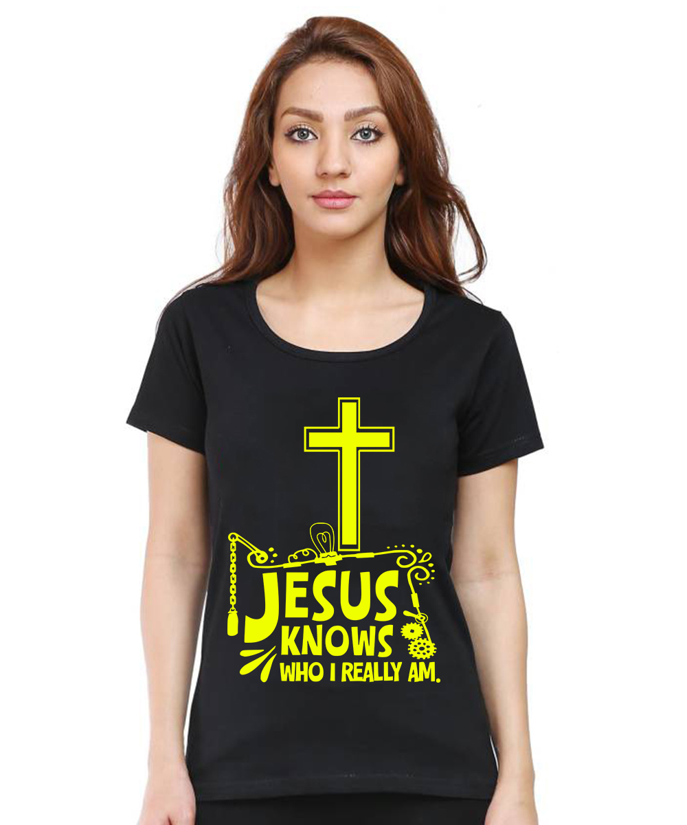 Caseria Women's Cotton Biowash Graphic Printed Half Sleeve T-Shirt - Jesus Knows Who I Am (Black, L)