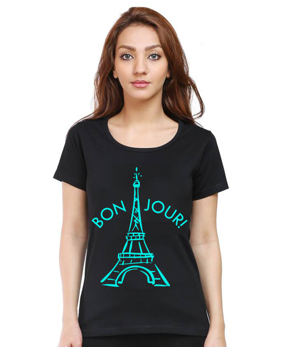Caseria Women's Cotton Biowash Graphic Printed Half Sleeve T-Shirt - Bonjour Paris (Black, L)