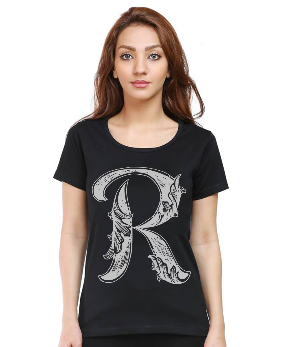 Caseria Women's Cotton Biowash Graphic Printed Half Sleeve T-Shirt - Letter R With Wings (Black, L)