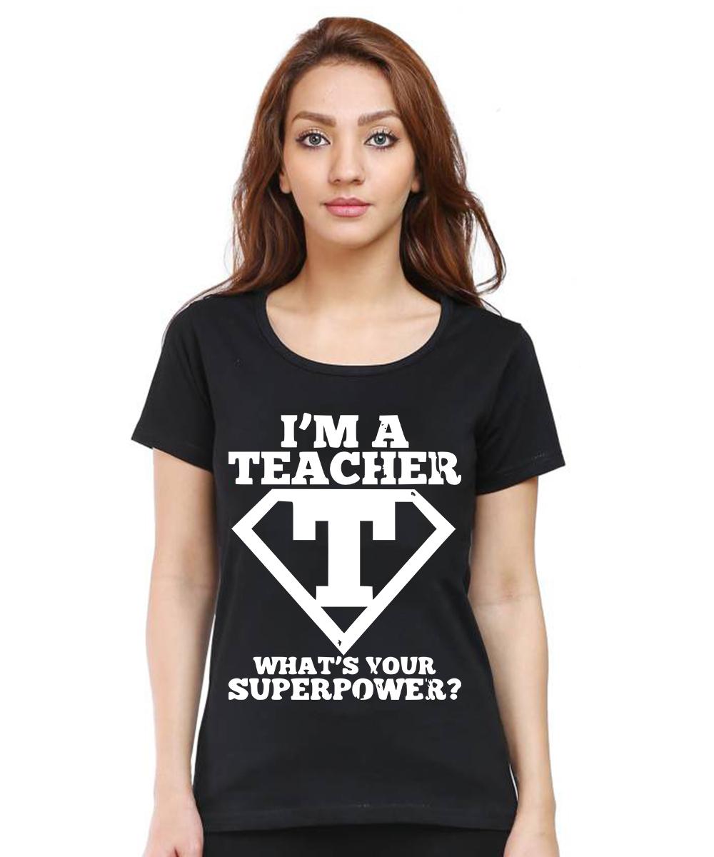 Caseria Women's Cotton Biowash Graphic Printed Half Sleeve T-Shirt - I'm A Teacher (Black, L)