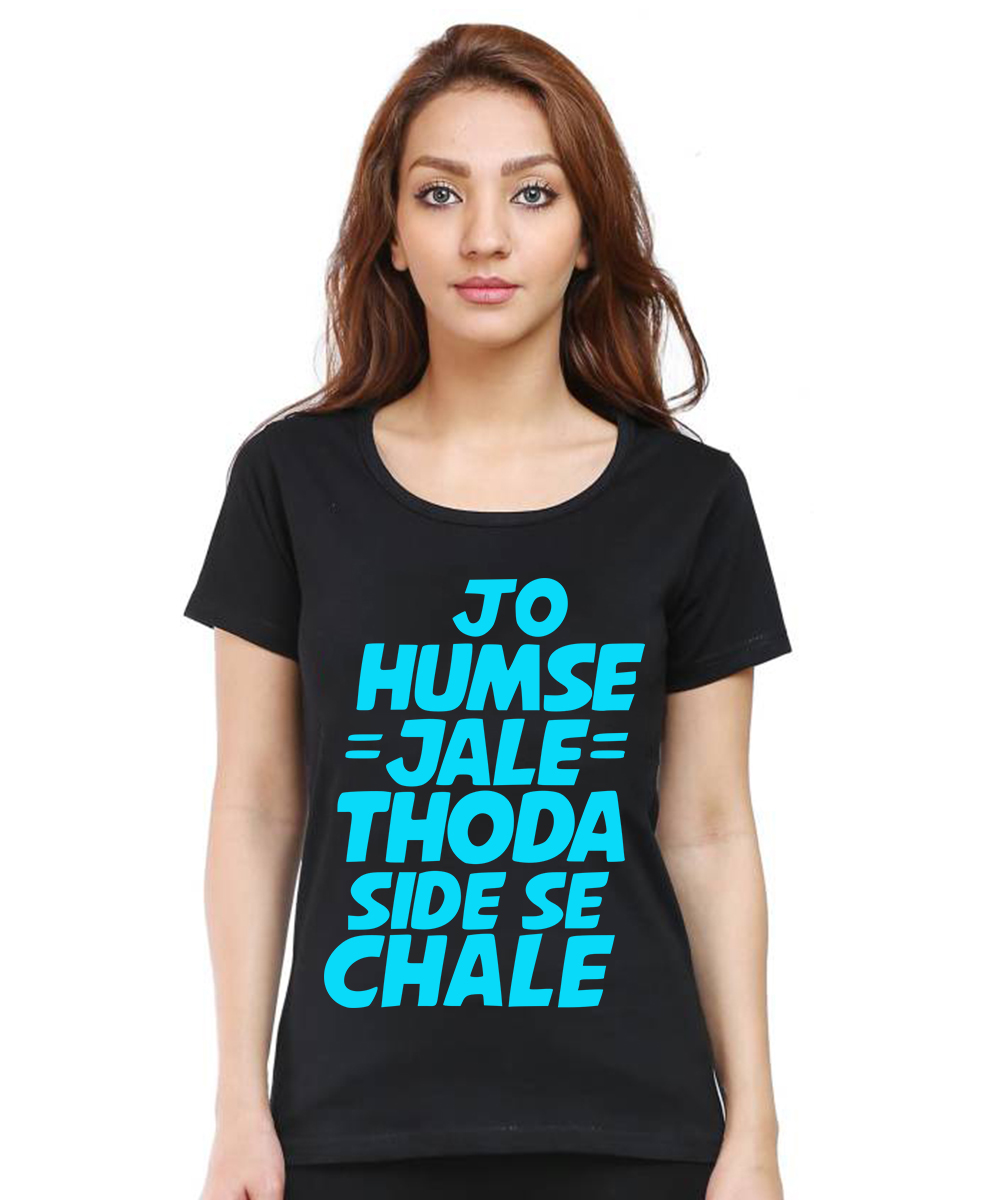 Caseria Women's Cotton Biowash Graphic Printed Half Sleeve T-Shirt - Jo Humse Jale (Black, L)