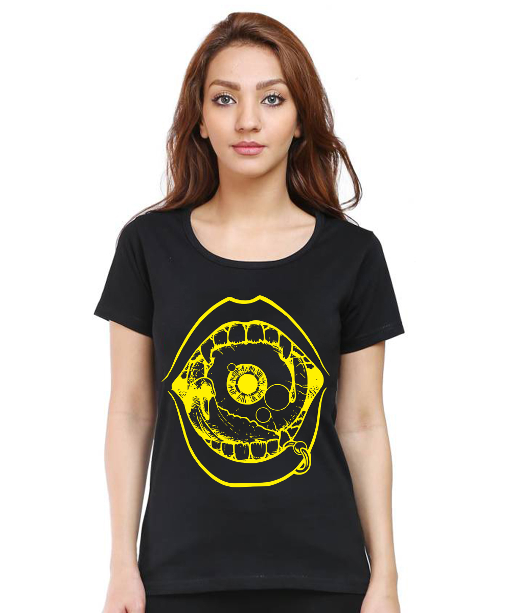 Caseria Women's Cotton Biowash Graphic Printed Half Sleeve T-Shirt - Lips Eye (Black, L)