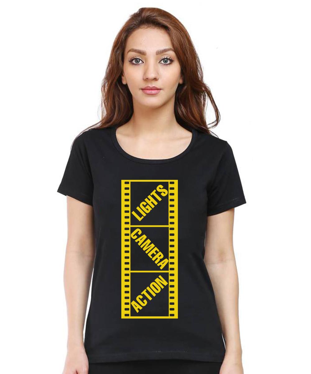 Caseria Women's Cotton Biowash Graphic Printed Half Sleeve T-Shirt - Lights Camera Action Reel (Black, L)