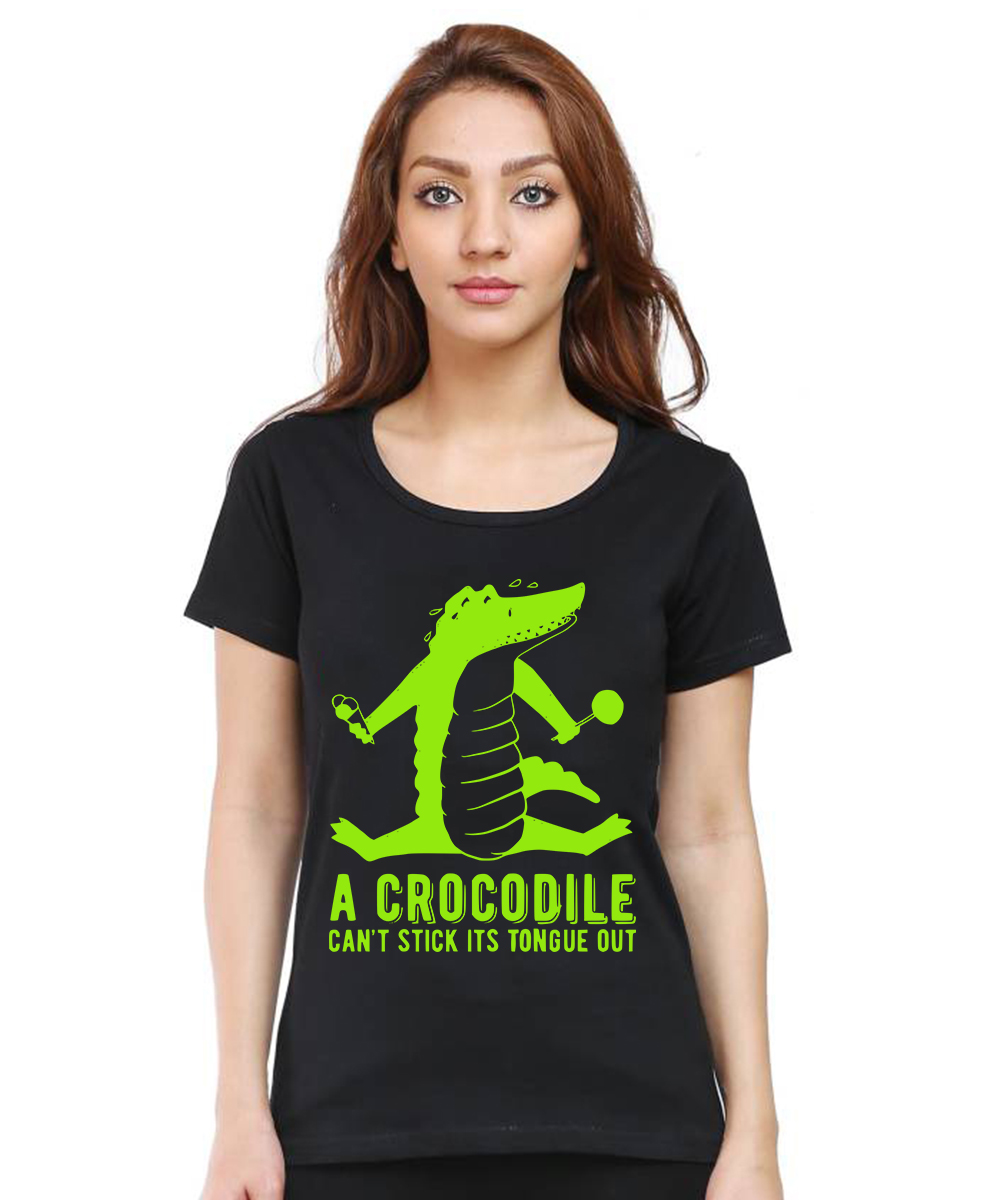 Caseria Women's Cotton Biowash Graphic Printed Half Sleeve T-Shirt - Crocodile Stick (Black, L)