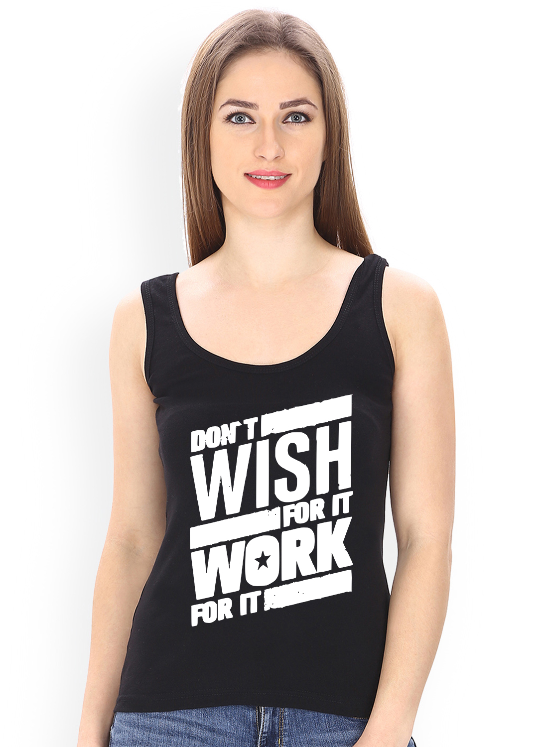 Caseria Women's Cotton Biowash Graphic Printed Tank Top - Don?t Wish (Black, L)