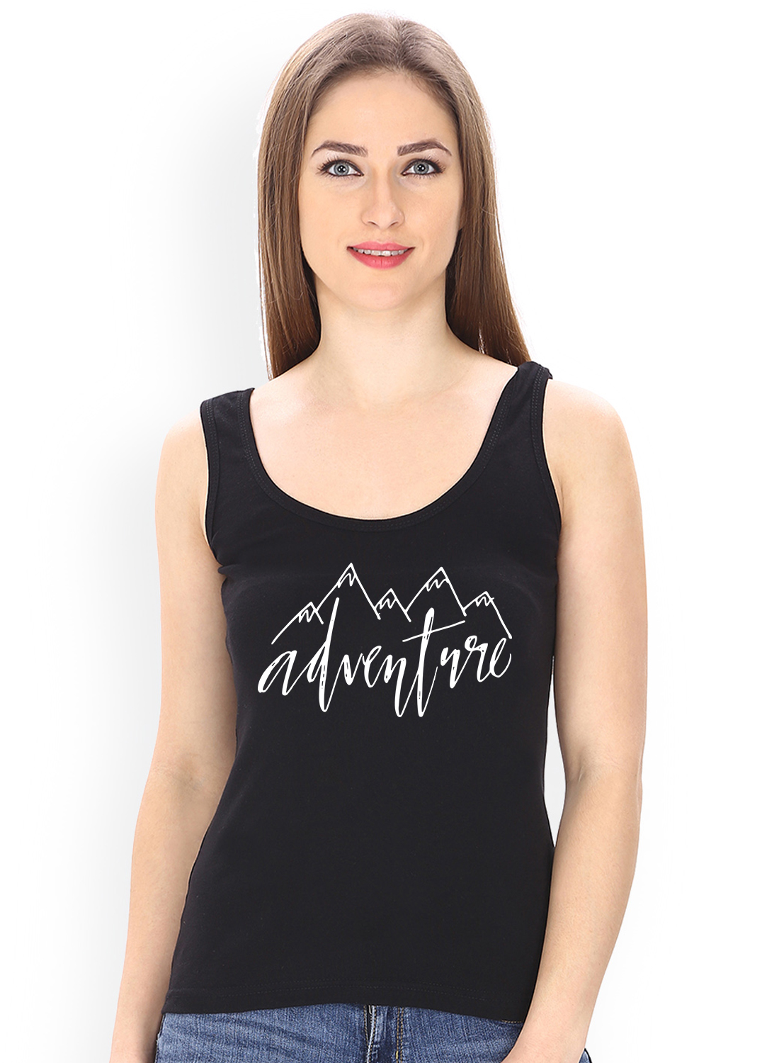Caseria Women's Cotton Biowash Graphic Printed Tank Top - Adventure (Black, L)