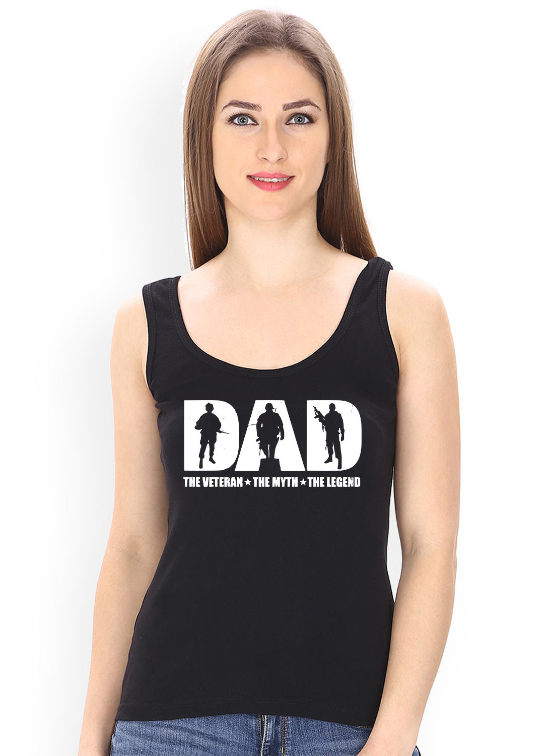 Caseria Women's Cotton Biowash Graphic Printed Tank Top - Dad Veteran Myth Legend (Black, L)