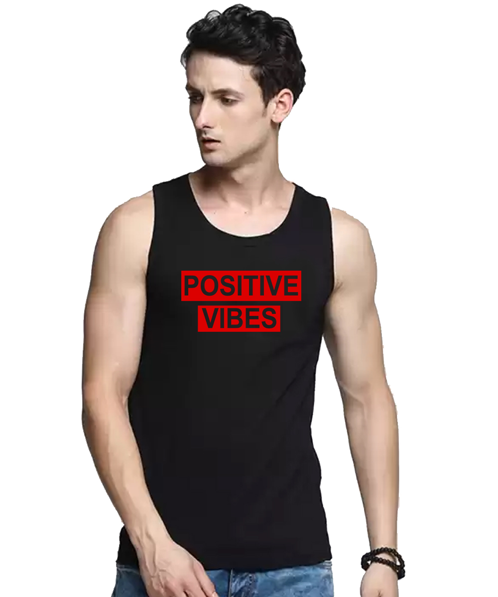 Caseria Men's Cotton Biowash Graphic Printed Vests - Positive Vibes Pattern (Black, L)