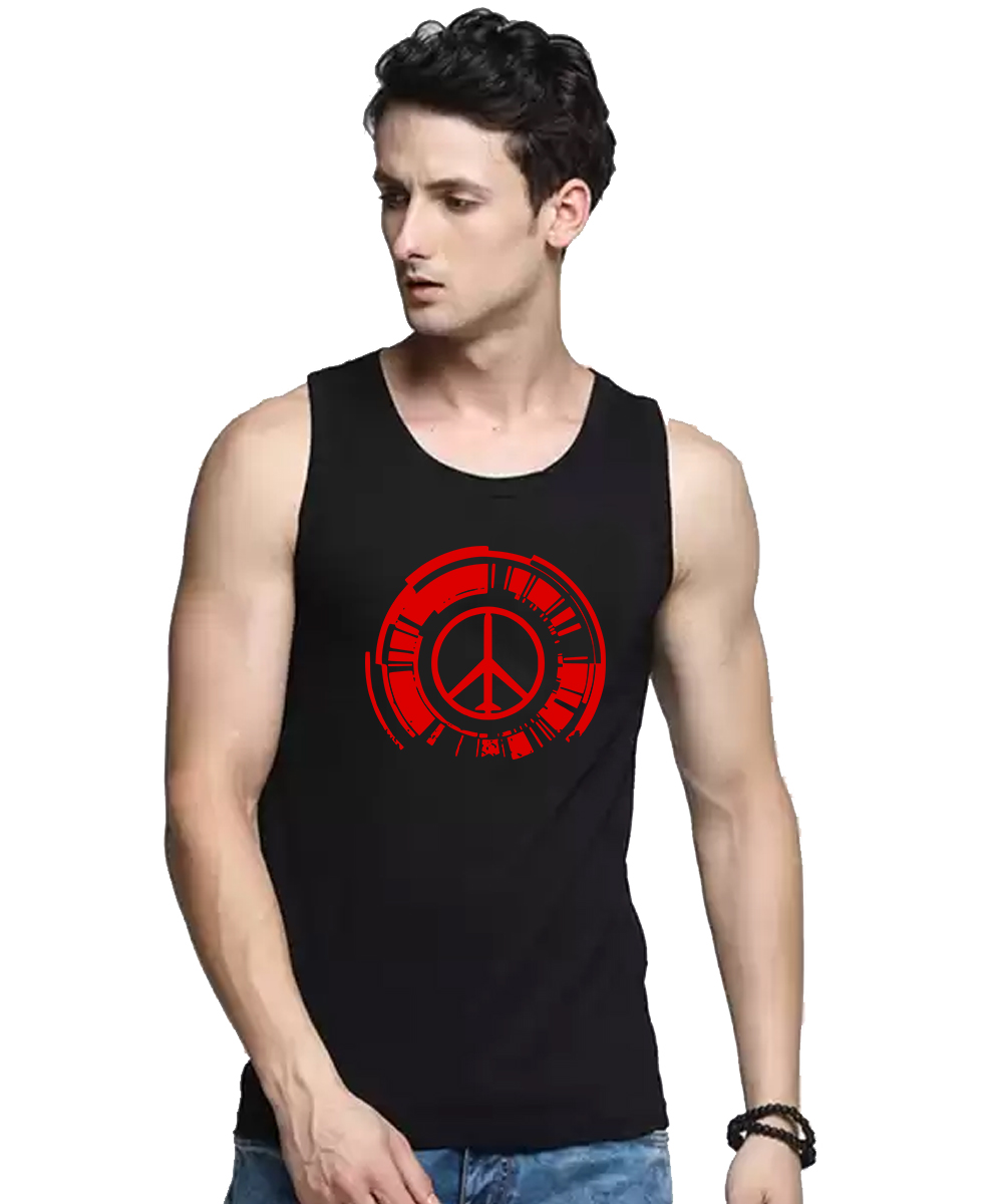Caseria Men's Cotton Biowash Graphic Printed Vests - Peace (Black, L)