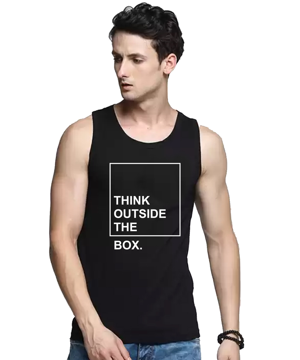 Caseria Men's Cotton Biowash Graphic Printed Vests - Outside The Box (Black, L)