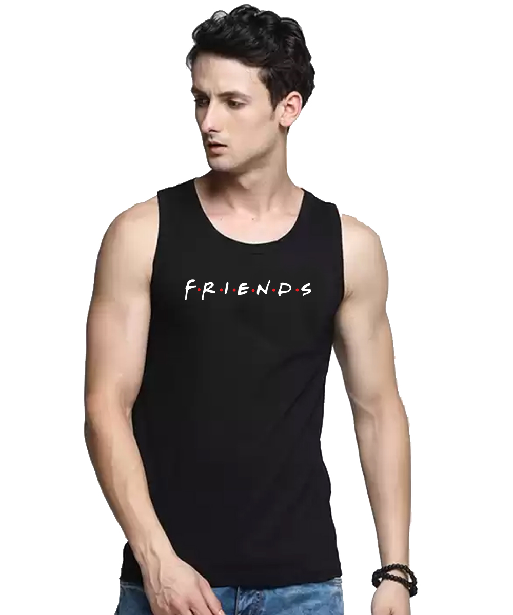 Caseria Men's Cotton Biowash Graphic Printed Vests - Friends (Black, L)