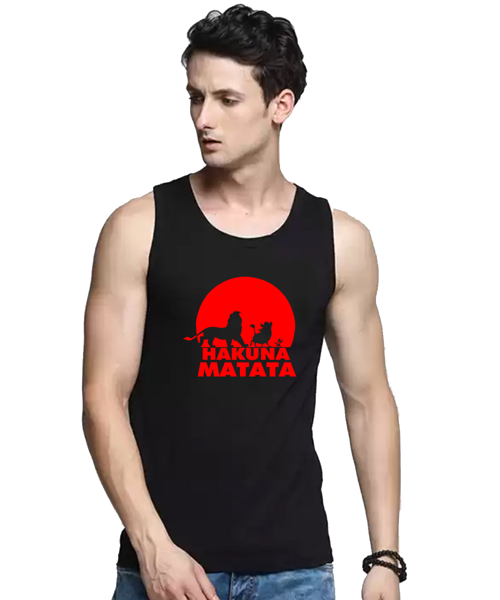 Caseria Men's Cotton Biowash Graphic Printed Vests - Hakuna Matata (Black, L)