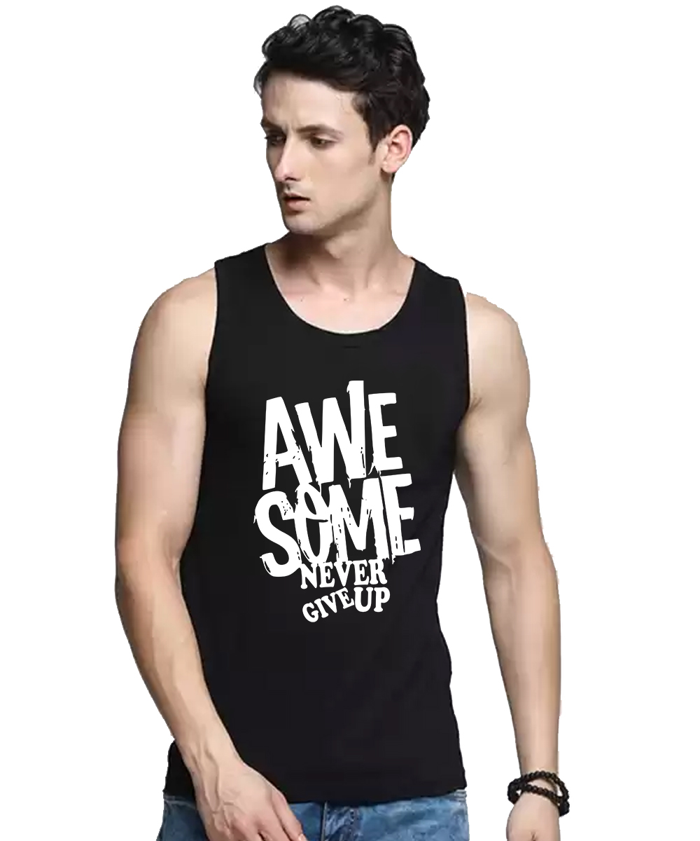 Caseria Men's Cotton Biowash Graphic Printed Vests - Awesome Never Give Up (Black, L)