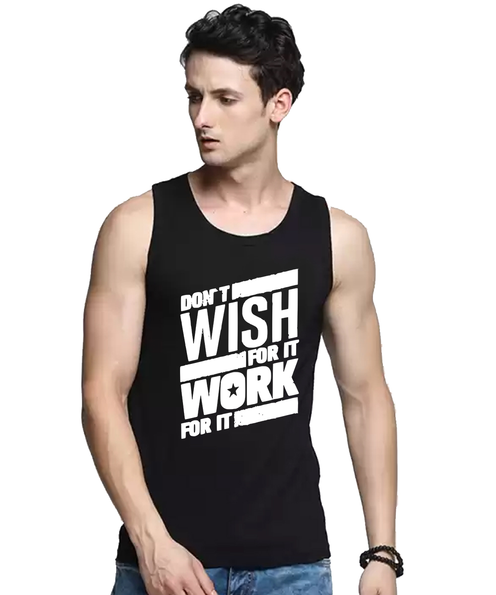 Caseria Men's Cotton Biowash Graphic Printed Vests - Don?t Wish (Black, L)