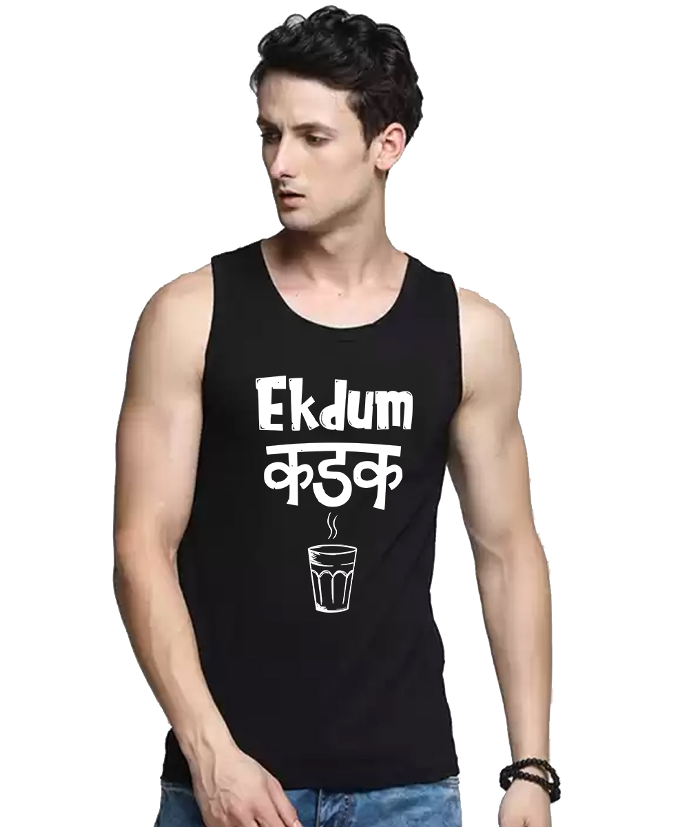 Caseria Men's Cotton Biowash Graphic Printed Vests - Ek Dum Tea (Black, L)