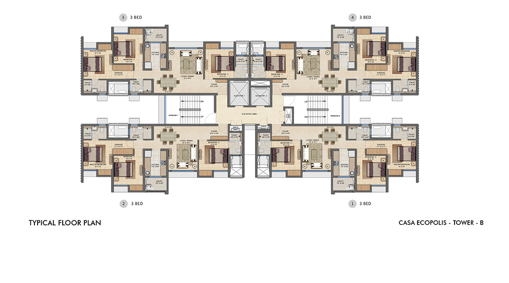 Lodha Upper Thane - Typical Floor Plan for B Tower