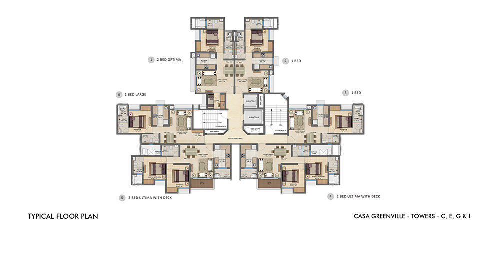 Lodha Upper Thane - Typical Floor Plan of C,E,G,I Towers
