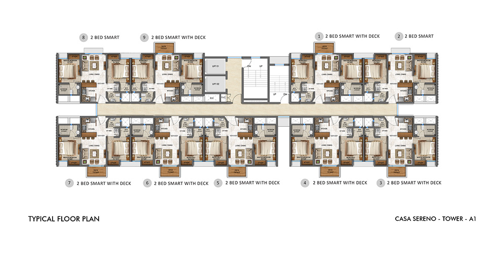Lodha Upper Thane - Typical Floor Plan for A1 Tower