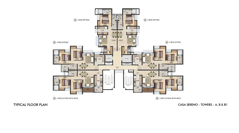 Lodha Upper Thane - Typical Floor Plan for A, B, B1 Tower