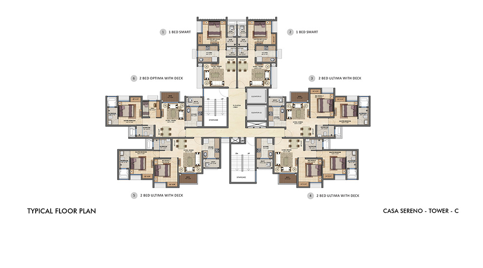 Lodha Upper Thane - Typical Floor Plan of Tower C