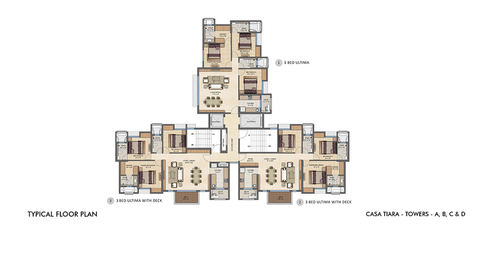 Lodha Upper Thane - Typical Floor Plan for A, B, C & D Tower