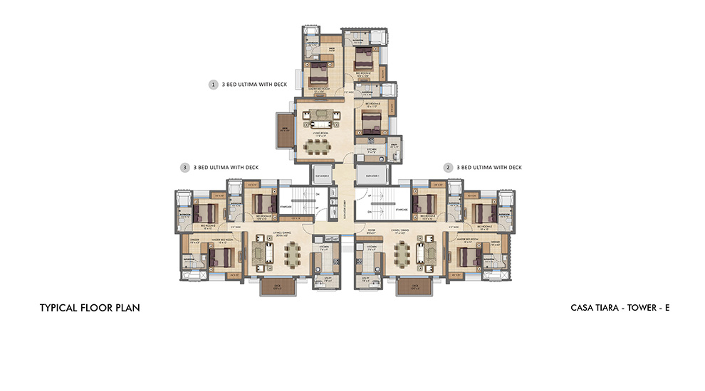 Lodha Upper Thane - Typical Floor Plan for E Tower