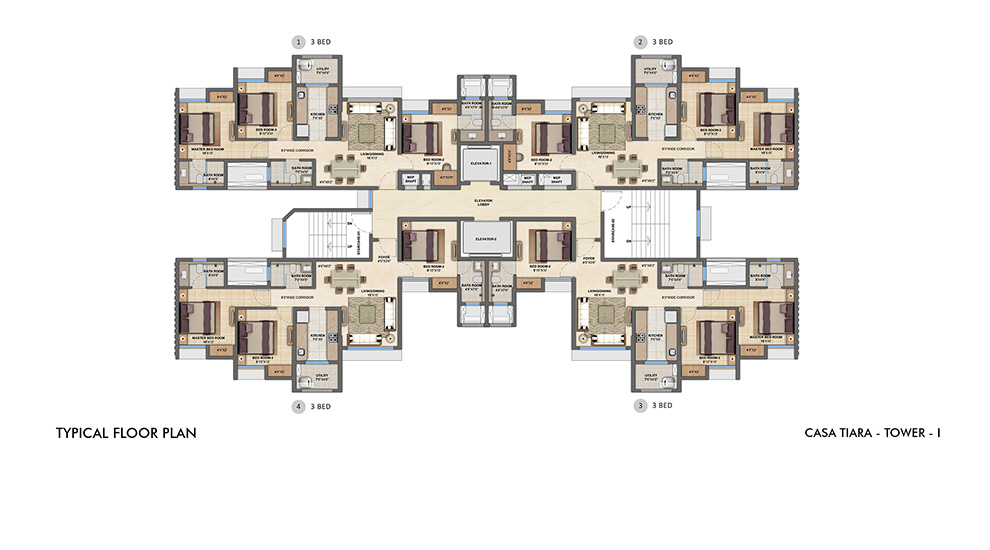 Lodha Upper Thane - Typical Floor Plan for I Tower