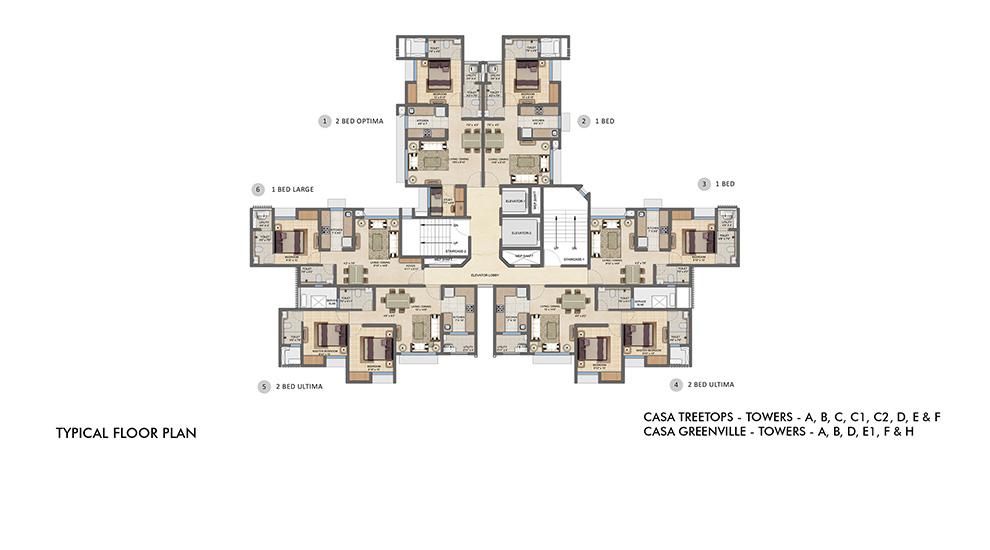 Lodha Upper Thane - Typical Floor Plan