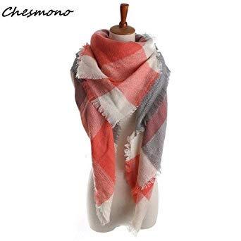 Women Cashmere Triangle Scarf Fashion Warm Winter Female Tartan Plaid Checkered Big Grid Shawl Wrap Cape Pink