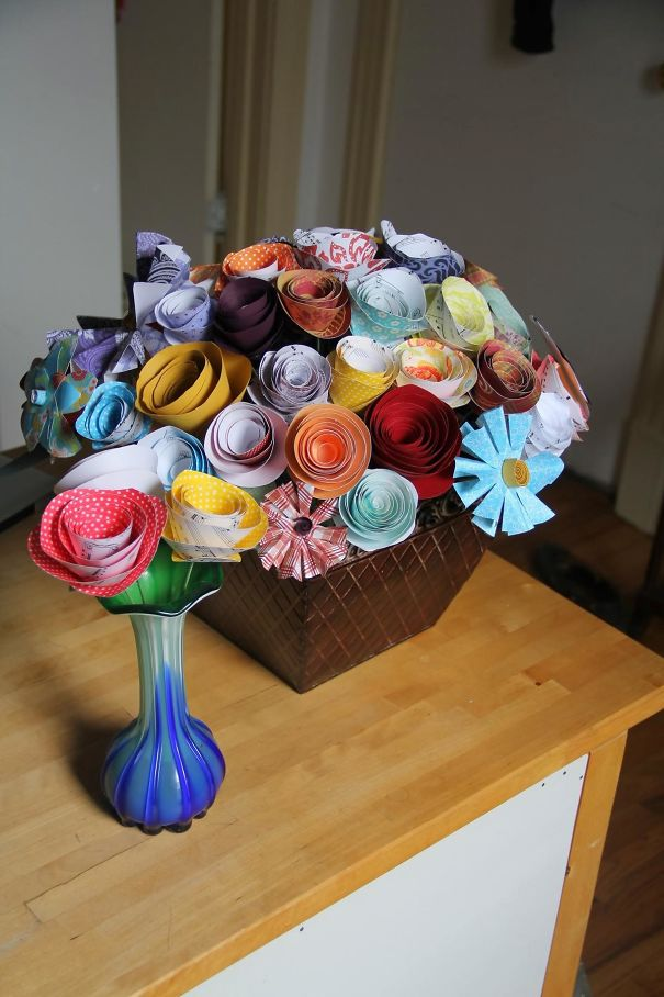 In Honor Of The Traditional Gift For The First Wedding Anniversary, I Made My Wife A Bouquet Of Paper Flowers! I Thought It Turned Out Rather Well For A Guy With Absolutely No Crafting Ability.
