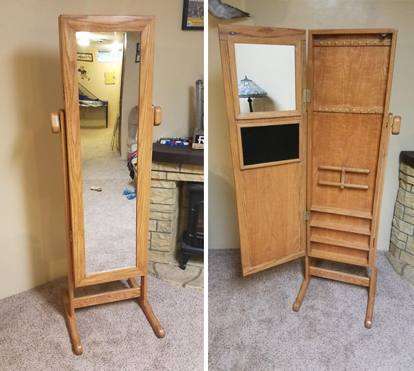 I Made A Birthday Gift For My Girlfriend - Mirror With Jewelery Cabinet