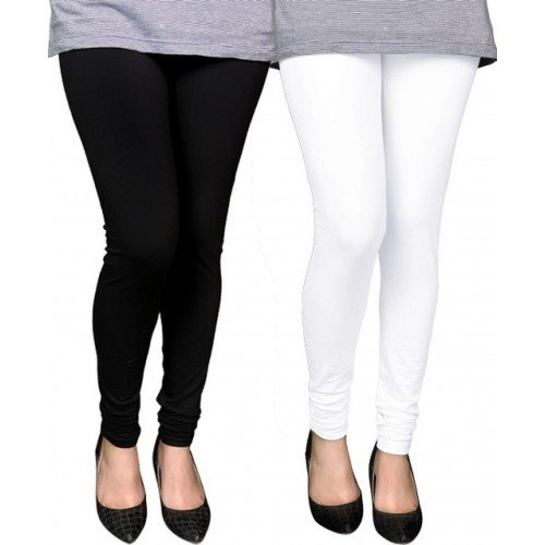 Swastik Stuffs Soft & Stretchable Cotton Lycra Churidar Free Size Leggings Combo Offer for Women (SSLBW2_Black,White_Free Size)(Pack of 2)