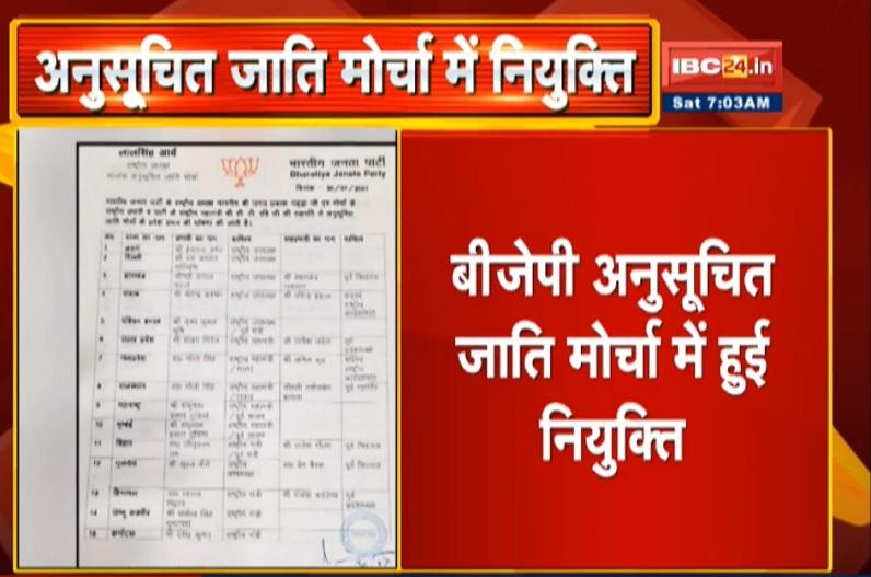 BJP ने की अनुसूचित जाति मोर्चा की नियुक्ति, भोला सिंह को मध्यप्रदेश तो सतीश मालवीय को छत्तीसगढ़ का प्रभार
