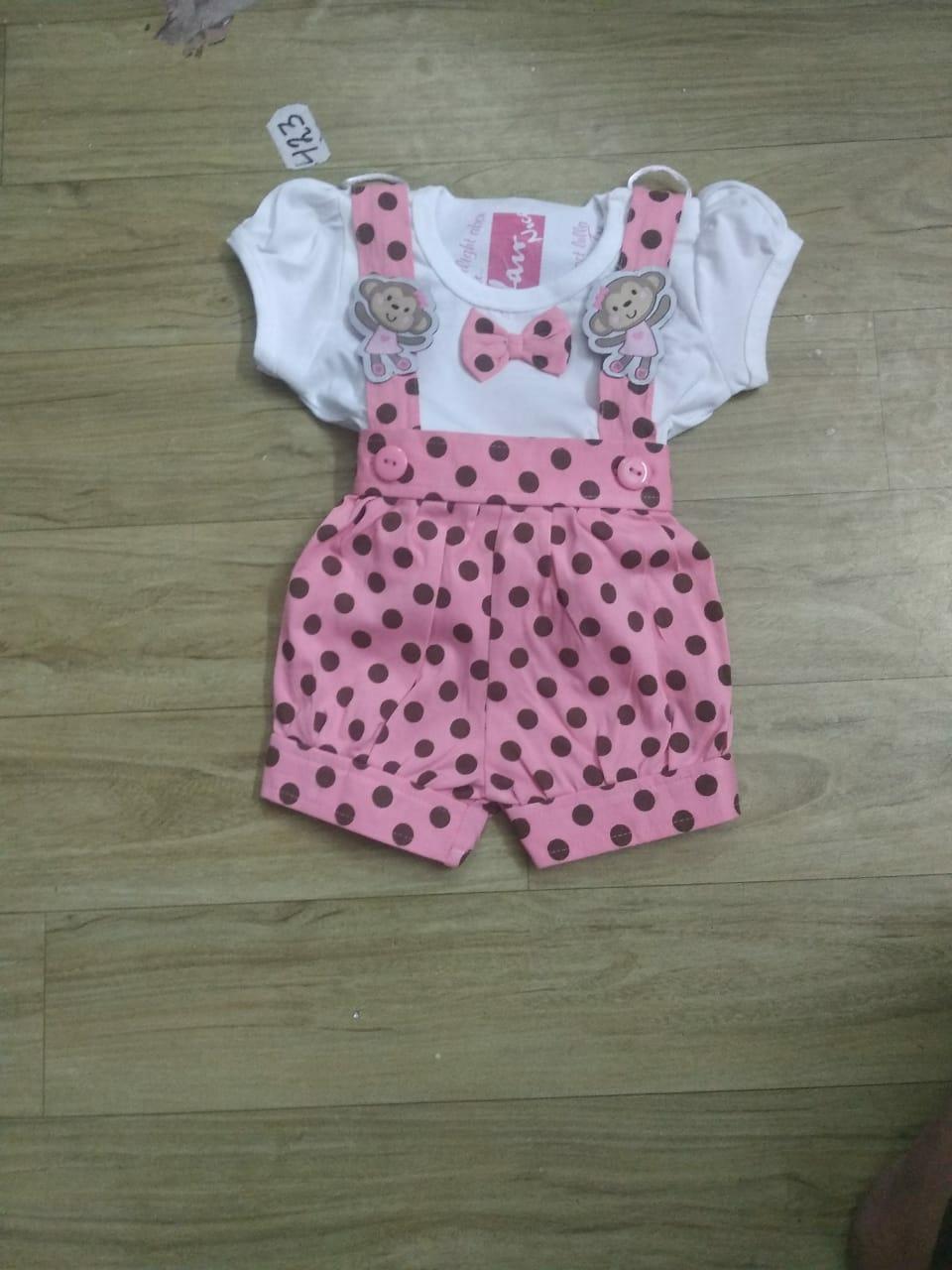 Pink Spotty Dungaree Dress