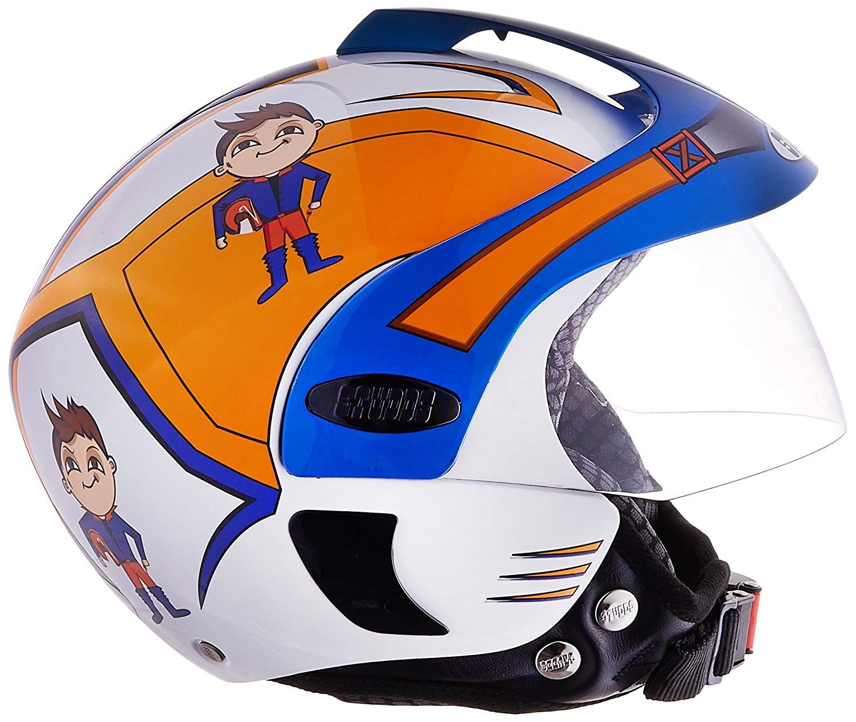 Studds Marshall D1 Open Face Helmet (Boy's, White N1, XS).jpg