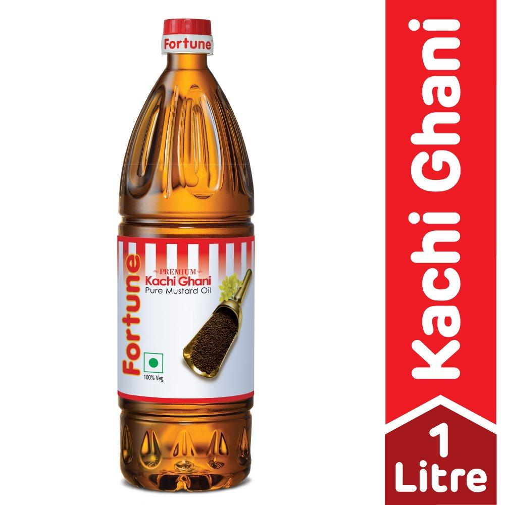 Fortune Kachi Ghani Pure Mustard Oil, 1L (Pet Bottle)